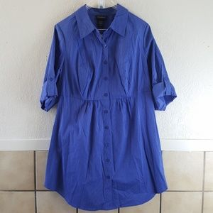 Lane Bryant blue and white stripped button up NWT